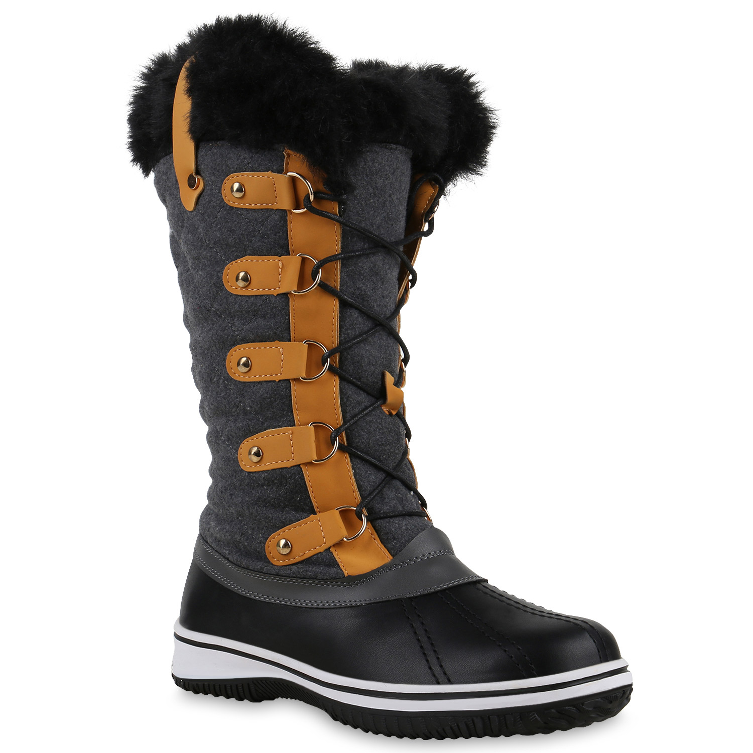 warm gef tterte damen stiefel winterstiefel schuhe waterproof 814081 new look ebay. Black Bedroom Furniture Sets. Home Design Ideas