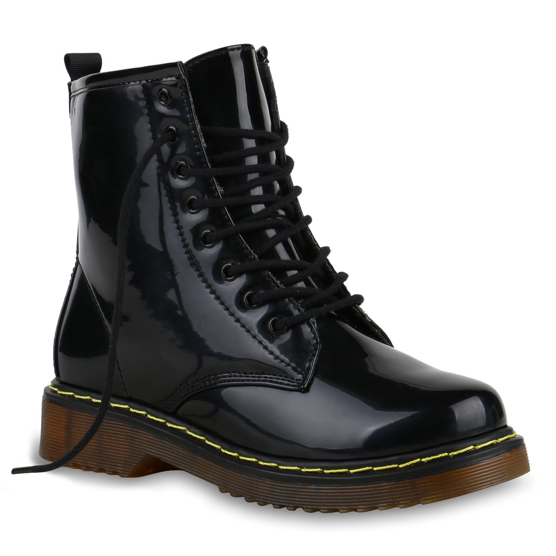 damen stiefeletten worker boots lack profilsohle boots. Black Bedroom Furniture Sets. Home Design Ideas