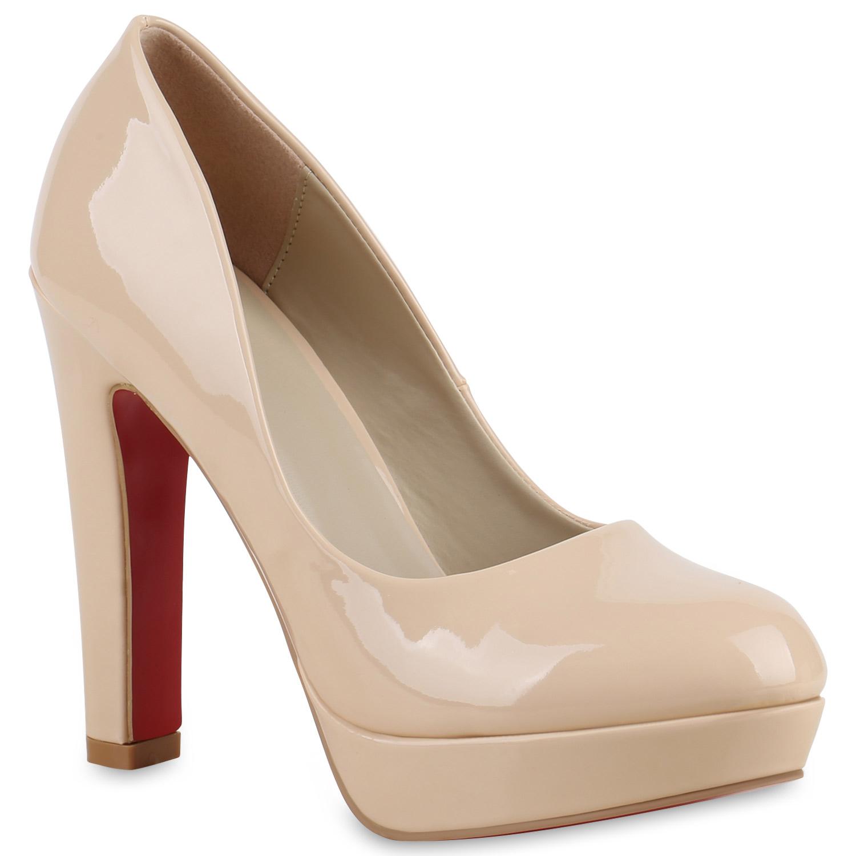 damen pumps plateau party high heels lack blockabsatz. Black Bedroom Furniture Sets. Home Design Ideas