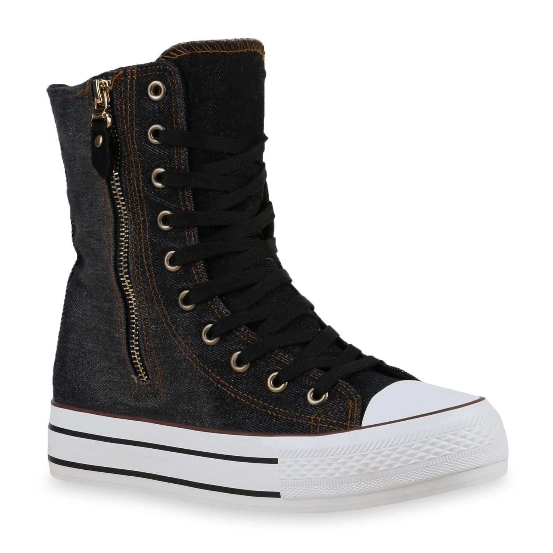 damen sneakers high top sneakerstiefel boots jeans denim schuhe 814419 ebay. Black Bedroom Furniture Sets. Home Design Ideas