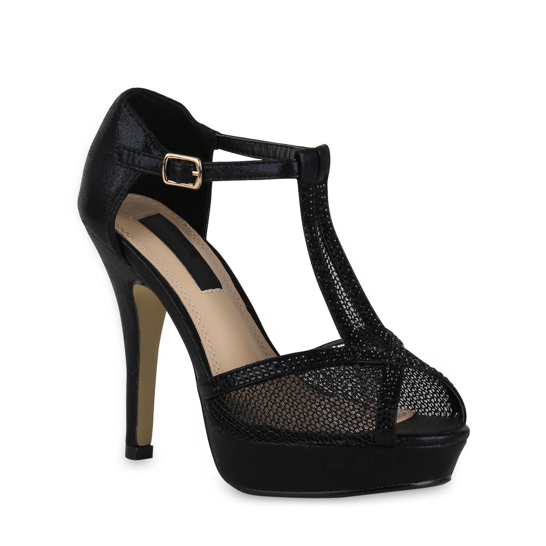 damen sandaletten plateau high heels strass glitzer party. Black Bedroom Furniture Sets. Home Design Ideas