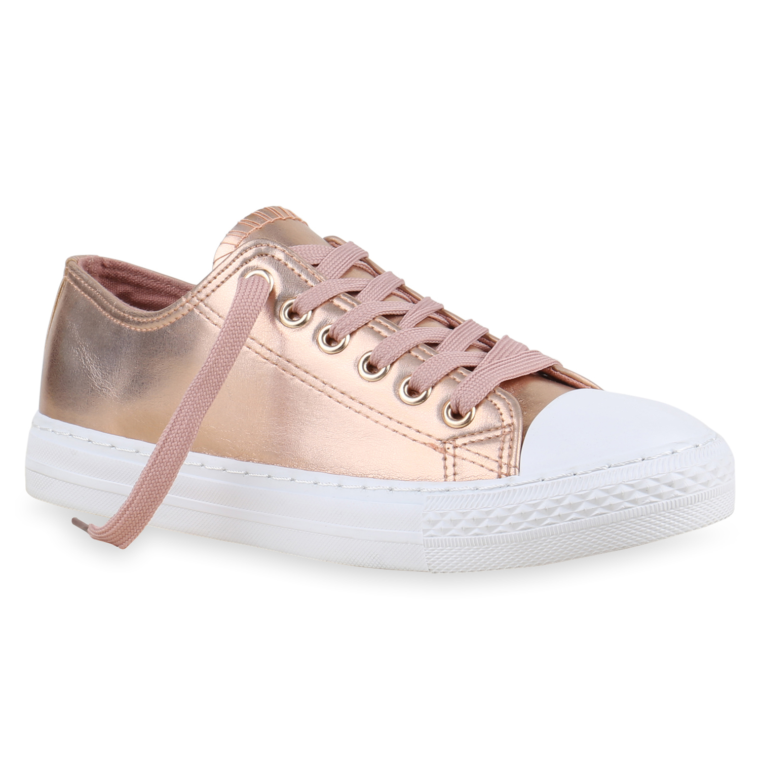 sneakers low damen metallic turnschuhe wei e sohle flats 814472 ebay