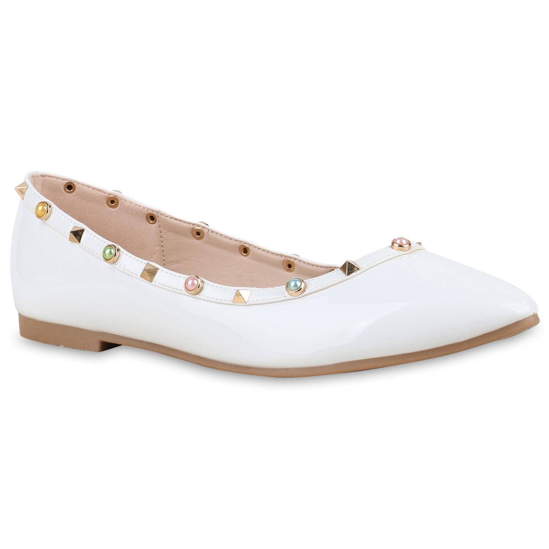 spitze damen ballerinas lack nieten flats schuhe slipper 814486 ebay. Black Bedroom Furniture Sets. Home Design Ideas