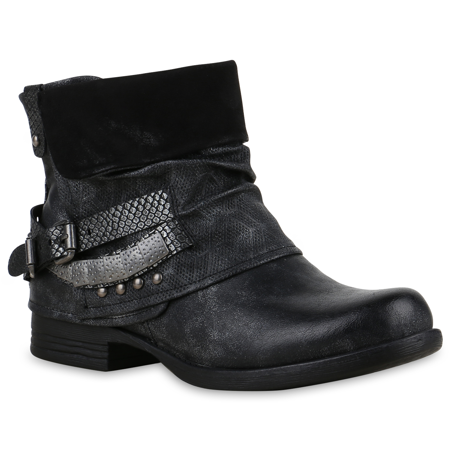 damen biker boots used look stiefeletten nieten schuhe 814504 ebay. Black Bedroom Furniture Sets. Home Design Ideas
