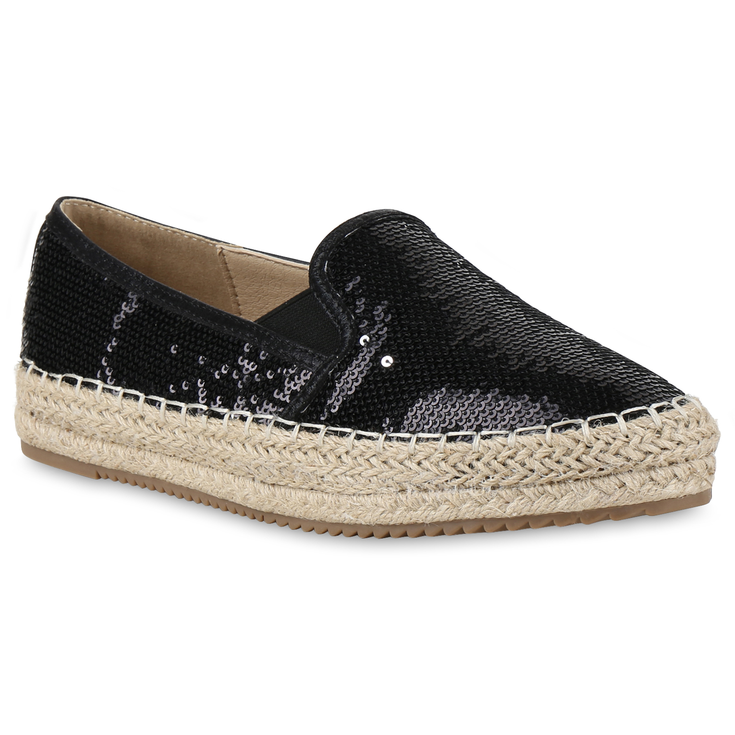 damen slipper espadrilles pailletten schuhe bast stoffschuhe 814510 ebay. Black Bedroom Furniture Sets. Home Design Ideas