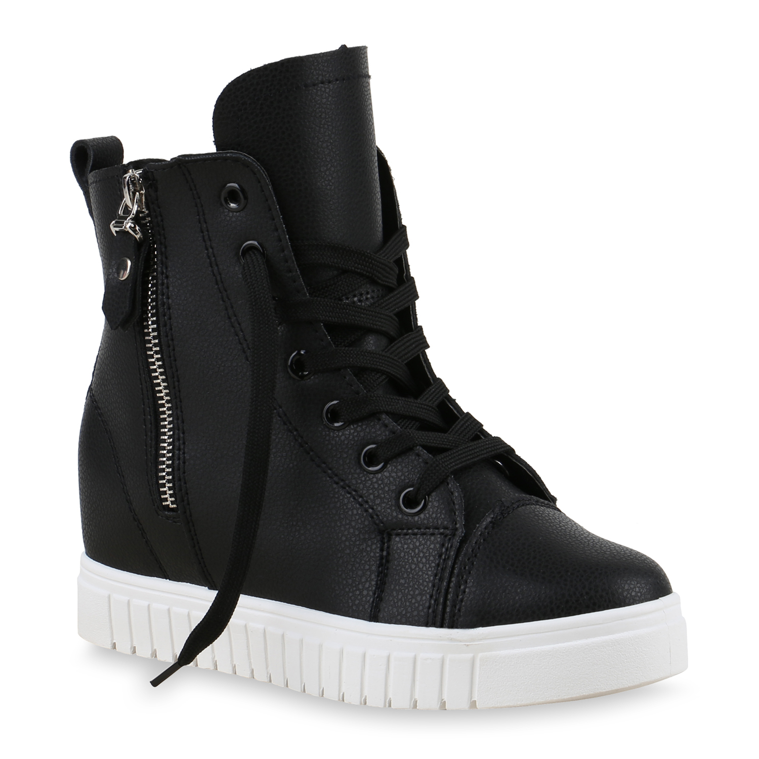 damen sneakers keilabsatz sneaker wedges high top zipper. Black Bedroom Furniture Sets. Home Design Ideas