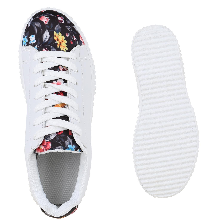 damen sneakers blumen prints wei e plateau sportschuhe 814549. Black Bedroom Furniture Sets. Home Design Ideas