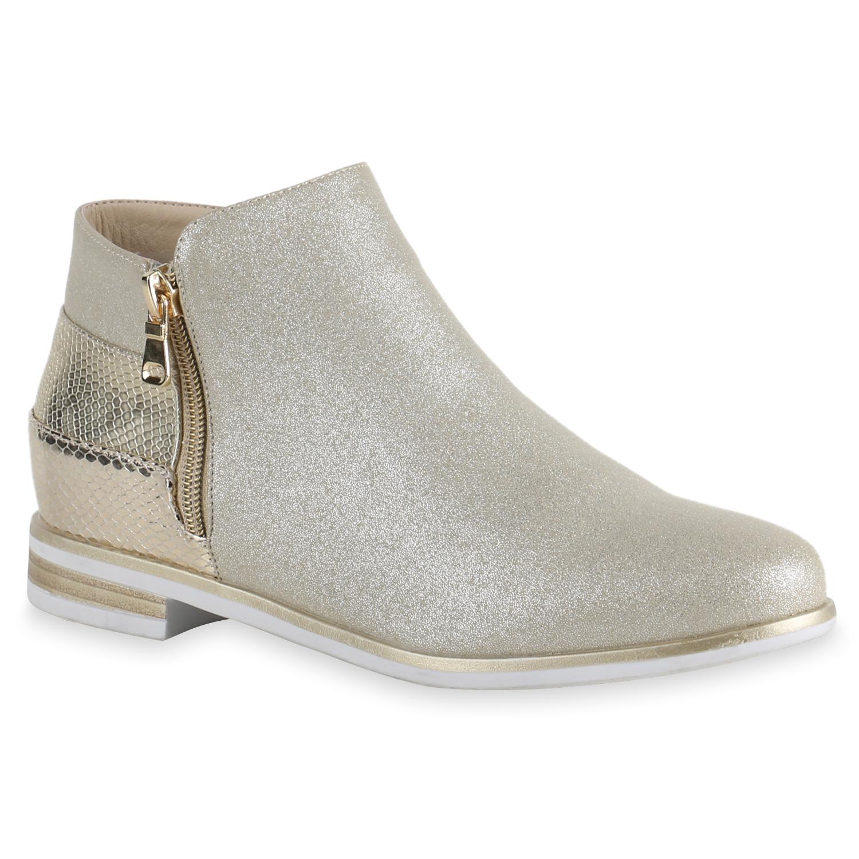 damen stiefeletten flache ankle boots lack metallic schuhe 814610 ebay. Black Bedroom Furniture Sets. Home Design Ideas