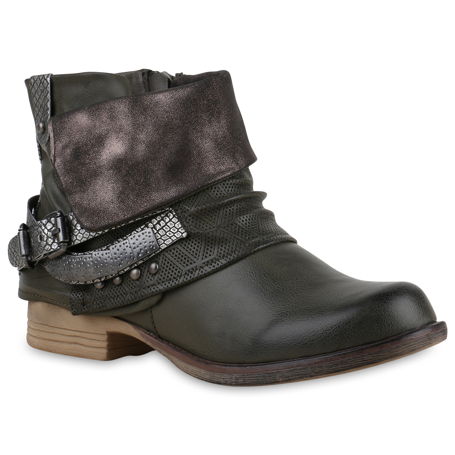 damen glitzer stiefeletten bequeme nieten biker boots. Black Bedroom Furniture Sets. Home Design Ideas