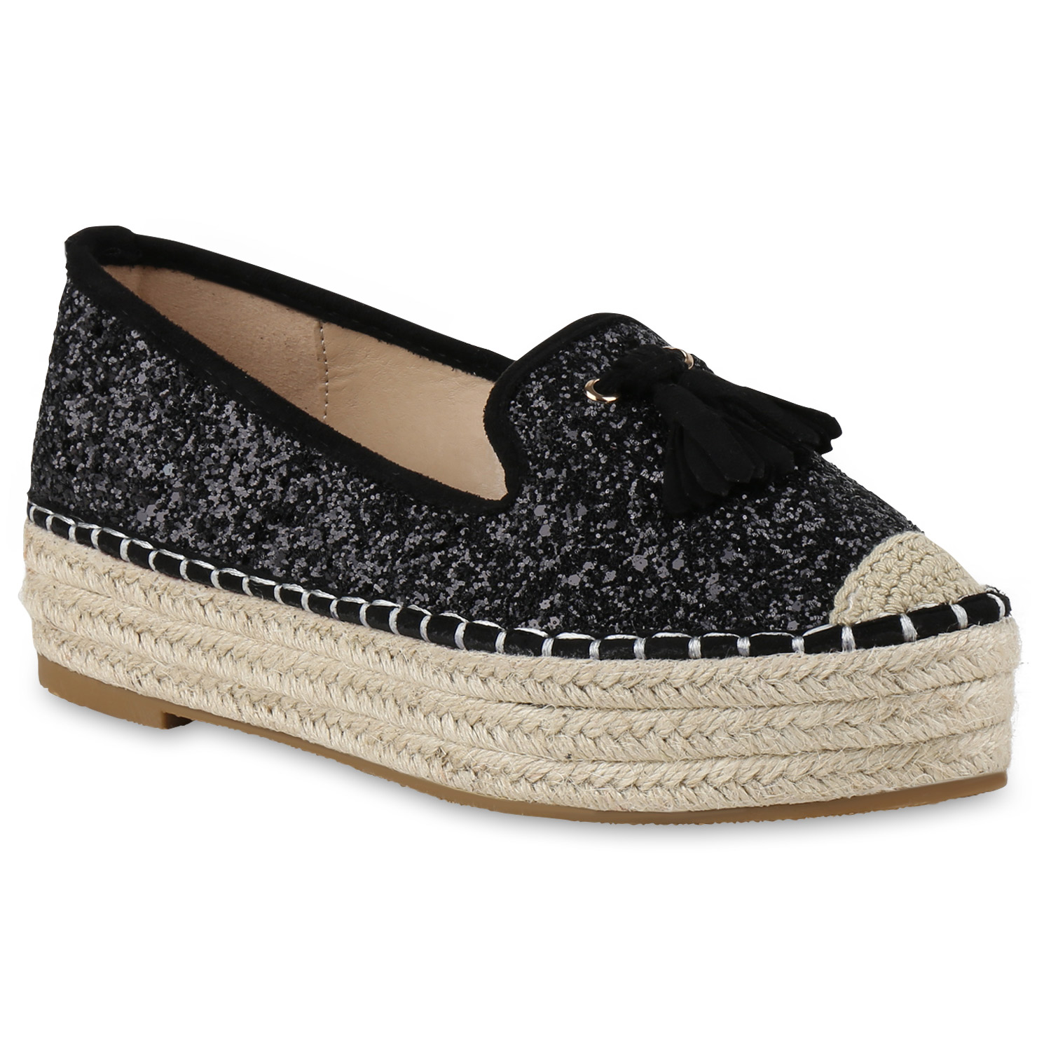 damen slipper plateauschuhe espadrilles bast glitzer schuhe 814667 ebay. Black Bedroom Furniture Sets. Home Design Ideas