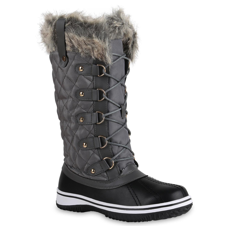 warm gef tterte damen stiefel winterstiefel snow boots schuhe waterproof 814080. Black Bedroom Furniture Sets. Home Design Ideas