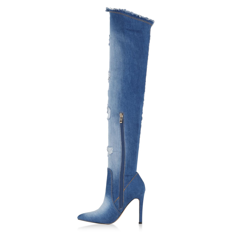 damen overknees jeans denim used look stiefel high heels. Black Bedroom Furniture Sets. Home Design Ideas