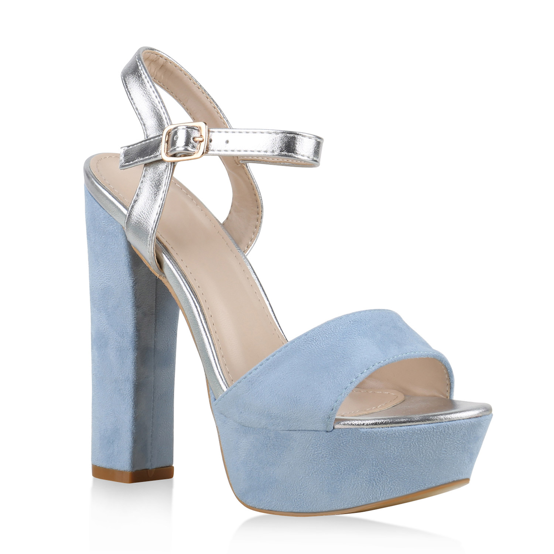 Damen Sandaletten Plateau Blockabsatz High Heels Metallic Schuhe 814965 Top