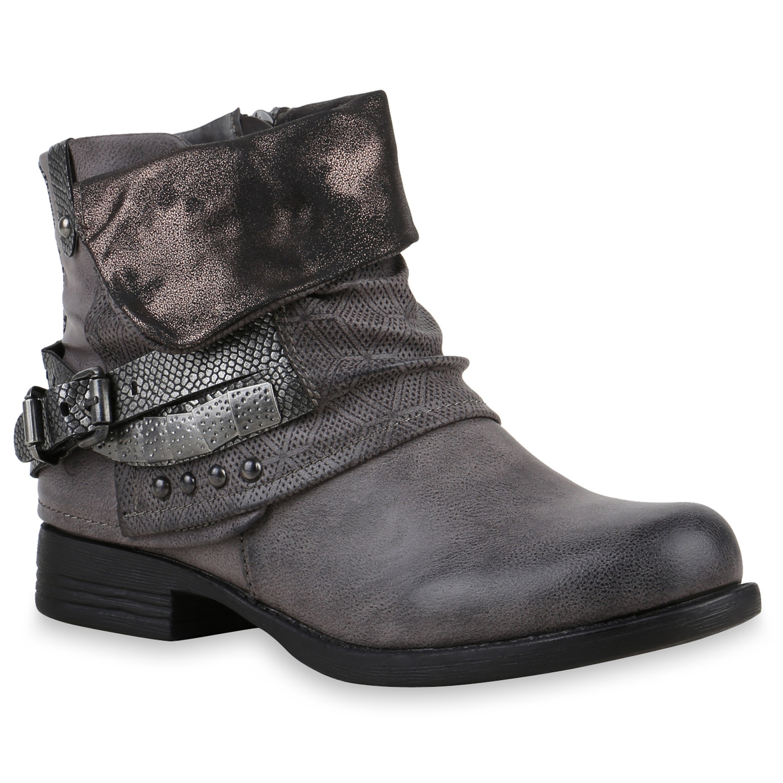 Gefuetterte-Damen-Biker-Boots-Nieten-Schnallen-Stiefeletten-891433-Top