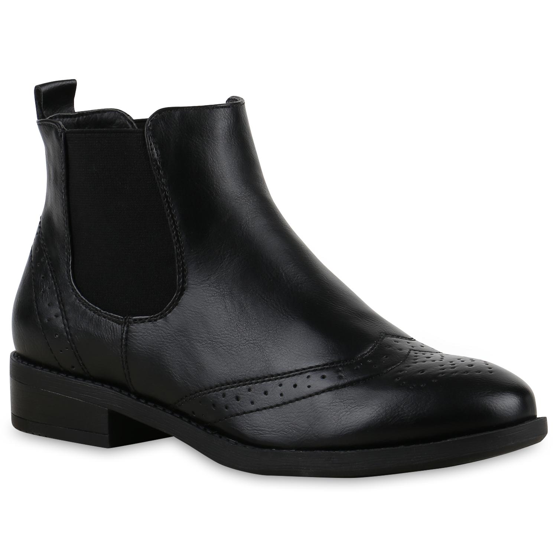 damen stiefeletten chelsea boots lederoptik 815094 schuhe. Black Bedroom Furniture Sets. Home Design Ideas