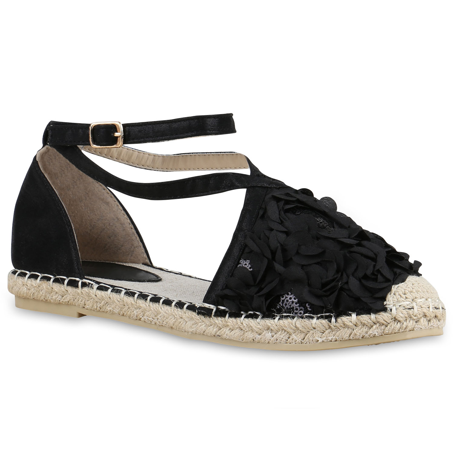 damen sandalen espadrilles blumen pailletten bast sommer schuhe 815188 ebay. Black Bedroom Furniture Sets. Home Design Ideas