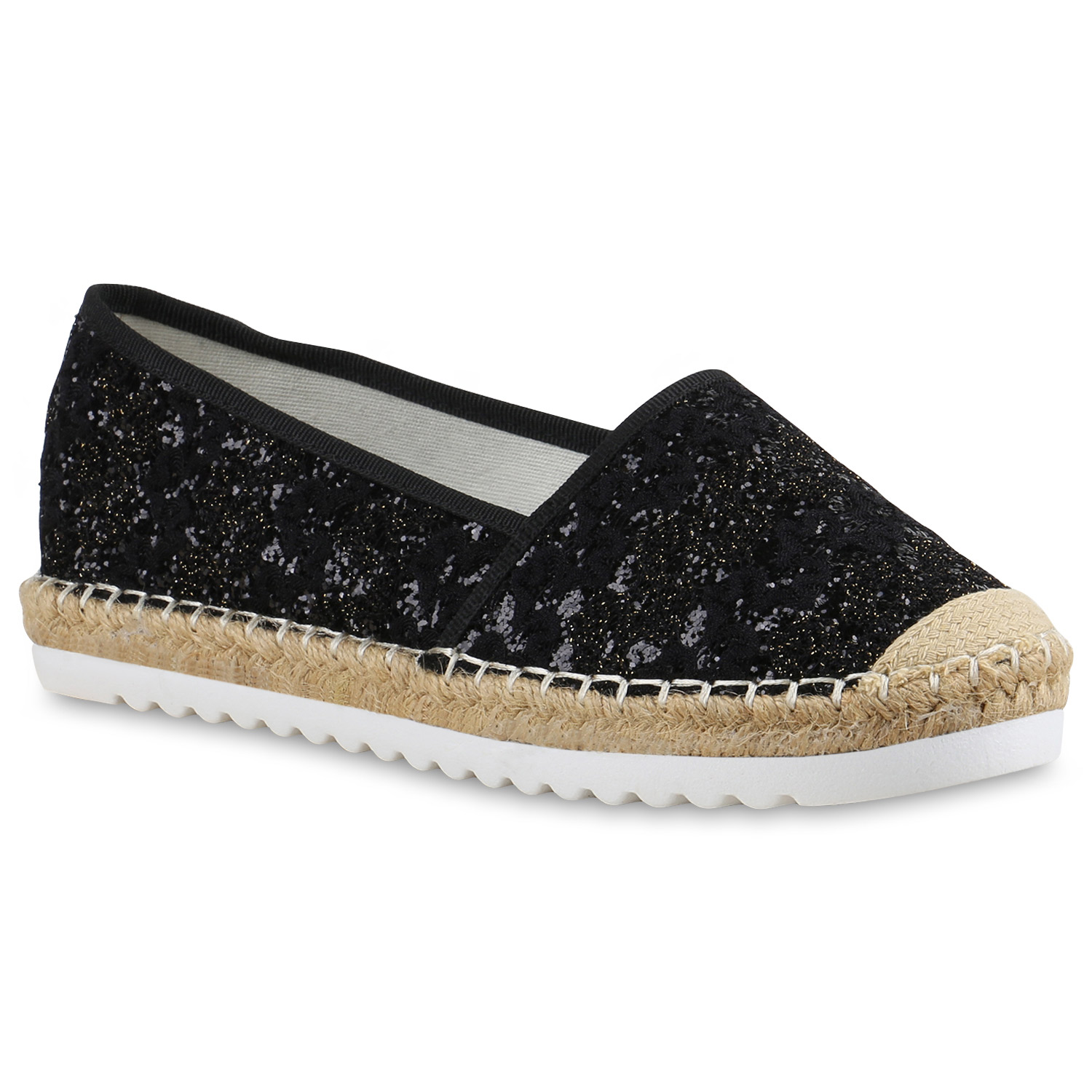 damen slipper espadrilles profilsohle glitzer freizeit schuhe 815821 ebay. Black Bedroom Furniture Sets. Home Design Ideas