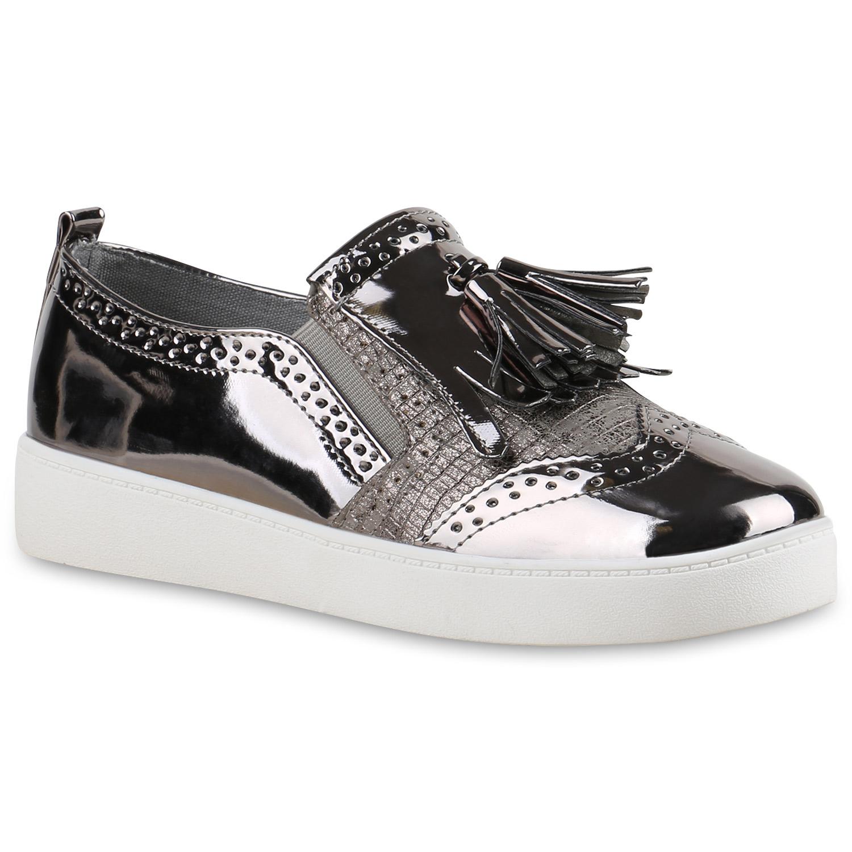 damen sneakers metallic plateau sneaker slip ons schuhe. Black Bedroom Furniture Sets. Home Design Ideas