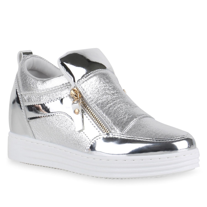 modische damen metallic sneaker wedges glitzer turnschuhe. Black Bedroom Furniture Sets. Home Design Ideas