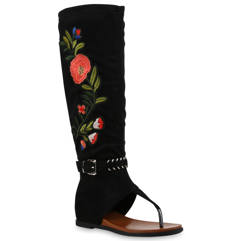 damen schaftsandaletten sandal boots zehentrenner sommer stiefel 816273 top ebay. Black Bedroom Furniture Sets. Home Design Ideas