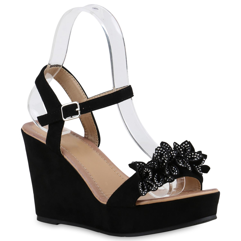 damen sandaletten keilabsatz wedges blumen plateau high. Black Bedroom Furniture Sets. Home Design Ideas