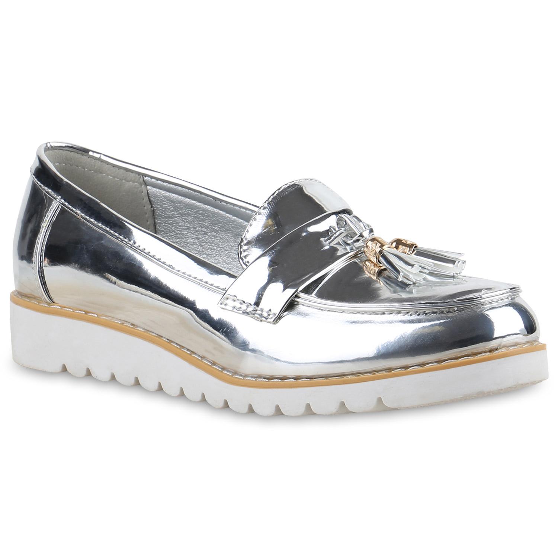 Damen loafers quasten glitzer slipper profilsohle 814360 for Dandy look fa r damen