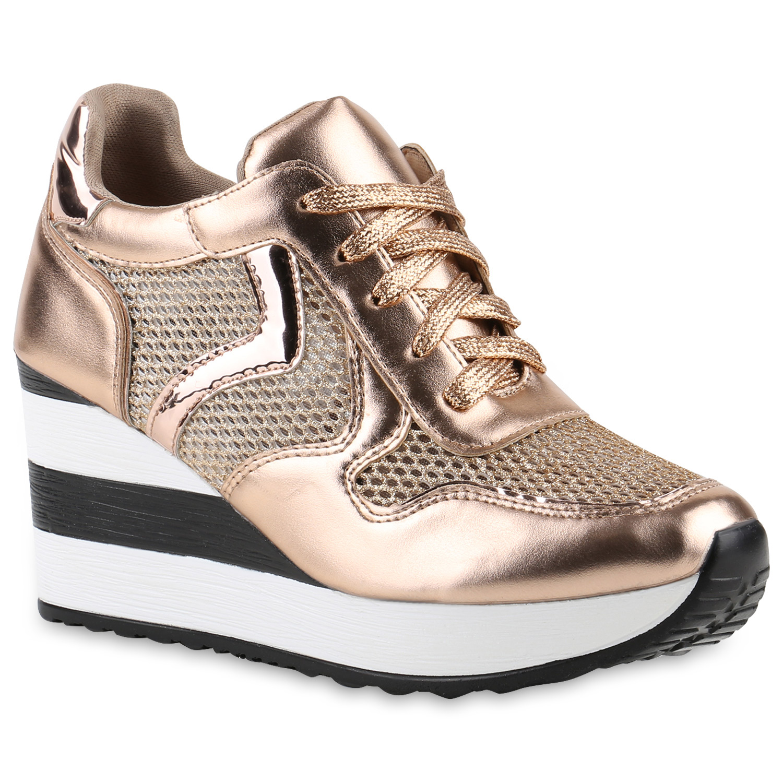 sneaker wedges damen lack sneakers glitzer keil absatz 90 39 s 816650 ebay. Black Bedroom Furniture Sets. Home Design Ideas