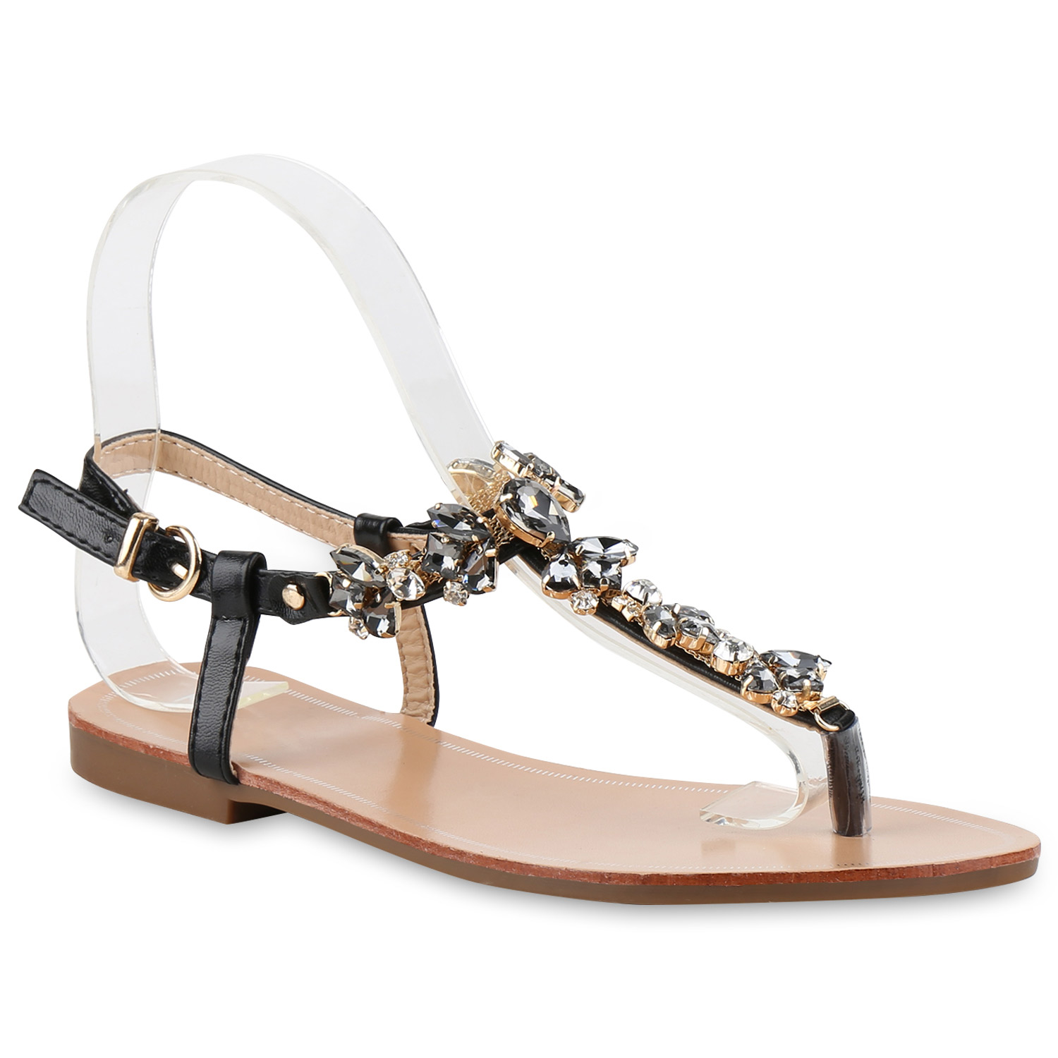 zehentrenner damen strass sandalen metallic sommer schuhe 816677 ebay. Black Bedroom Furniture Sets. Home Design Ideas