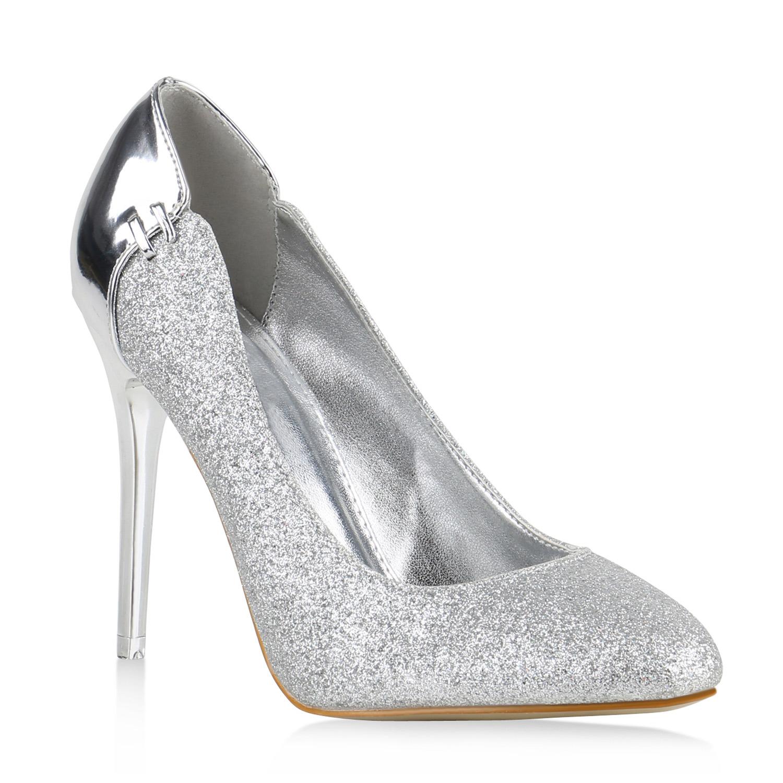 high heels damen glitzer pumps metallic party abend schuhe. Black Bedroom Furniture Sets. Home Design Ideas
