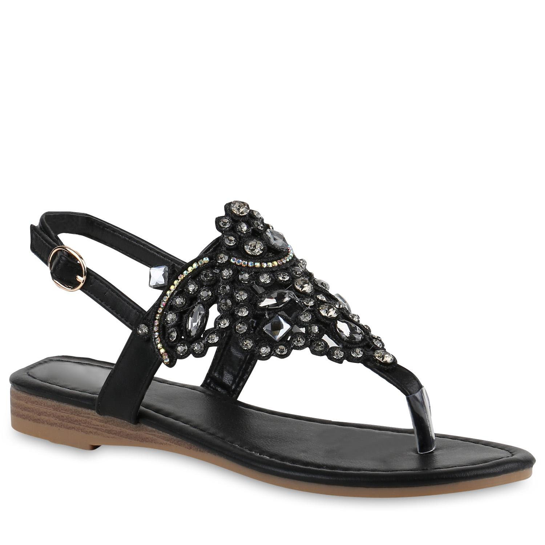 damen sandalen zehentrenner strass glitzer dianetten sommerschuhe 817184 mode ebay. Black Bedroom Furniture Sets. Home Design Ideas