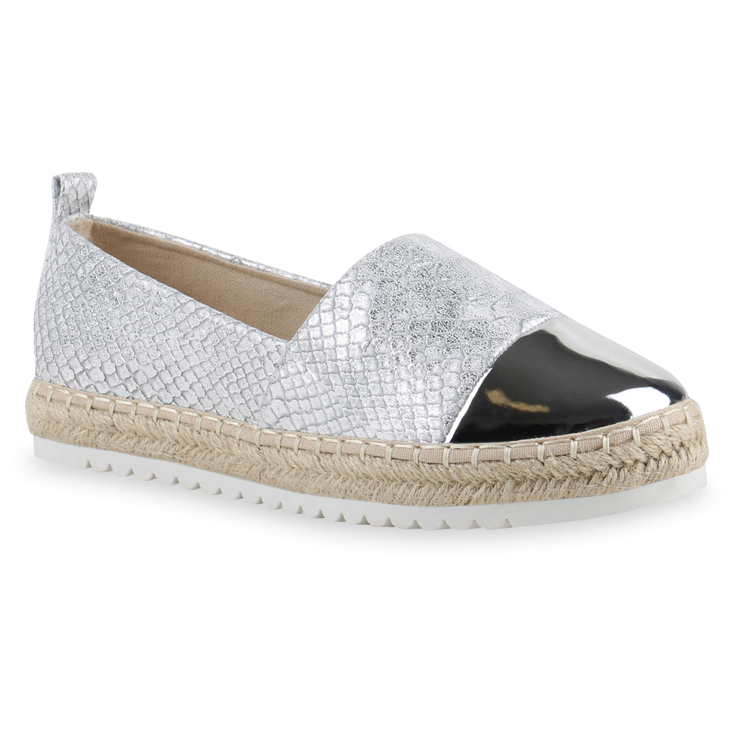 damen espadrilles metallic slipper bast profilsohle flats schuhe 814633 mode ebay. Black Bedroom Furniture Sets. Home Design Ideas