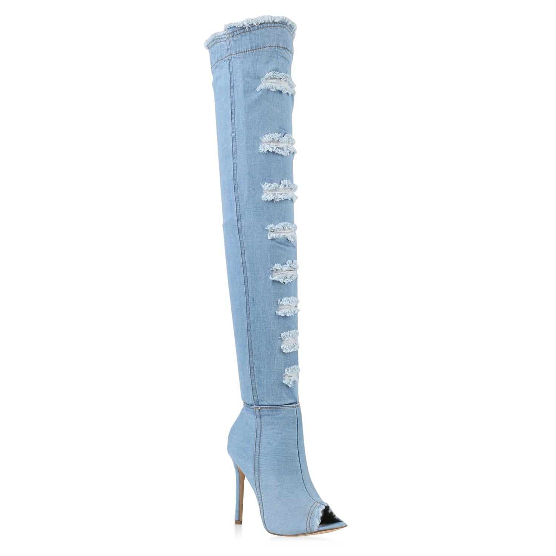 damen overknee stiefel sandal boots sommer overknees denim. Black Bedroom Furniture Sets. Home Design Ideas