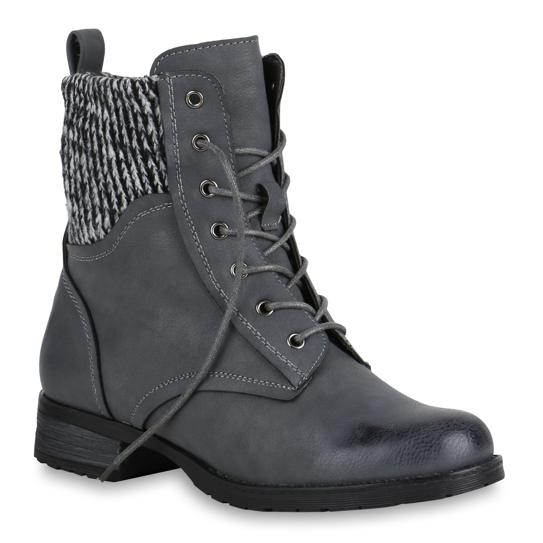 Damen Stiefeletten Schnürstiefeletten Strick Schuhe Stiefel 819749 Trendy