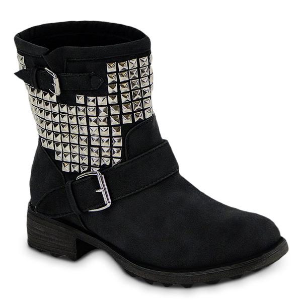 tolle damen stiefelette stiefel boots mit nieten 95133 ebay. Black Bedroom Furniture Sets. Home Design Ideas