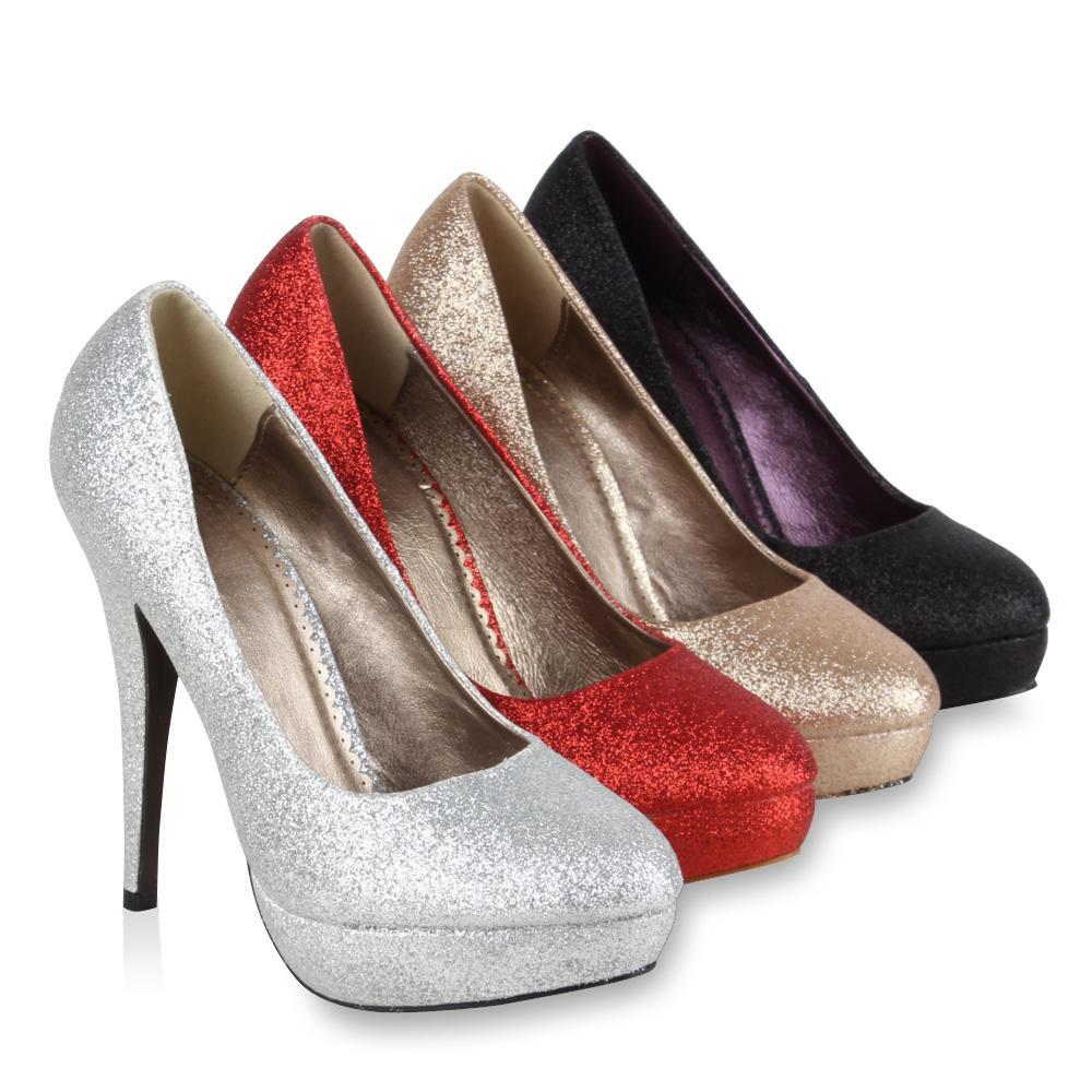 plateau damen pumps high heels 95718 glitzer schuhe 36 41. Black Bedroom Furniture Sets. Home Design Ideas