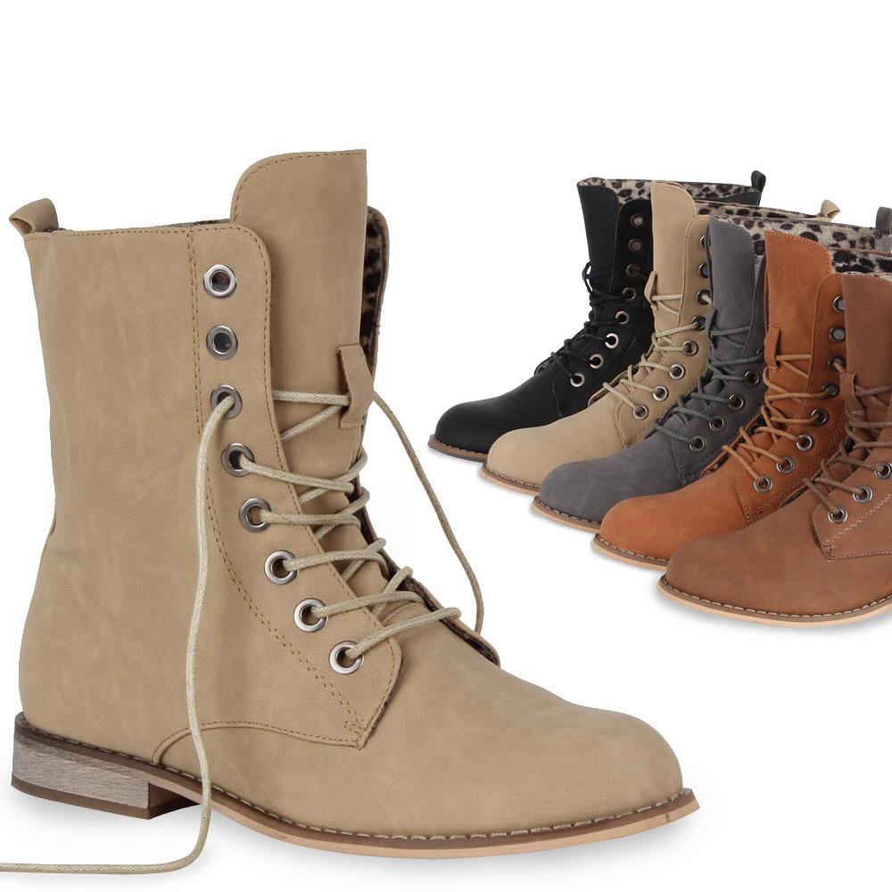Schnuereboots-Damen-Stiefeletten-96264-Worker-Boots-Schuhe-36-41-Trendy