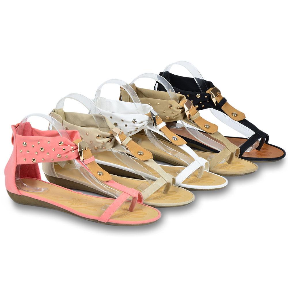 zehentrenner damen sandalen 96329 trendy nieten sommer schuhe 36 41 ebay. Black Bedroom Furniture Sets. Home Design Ideas