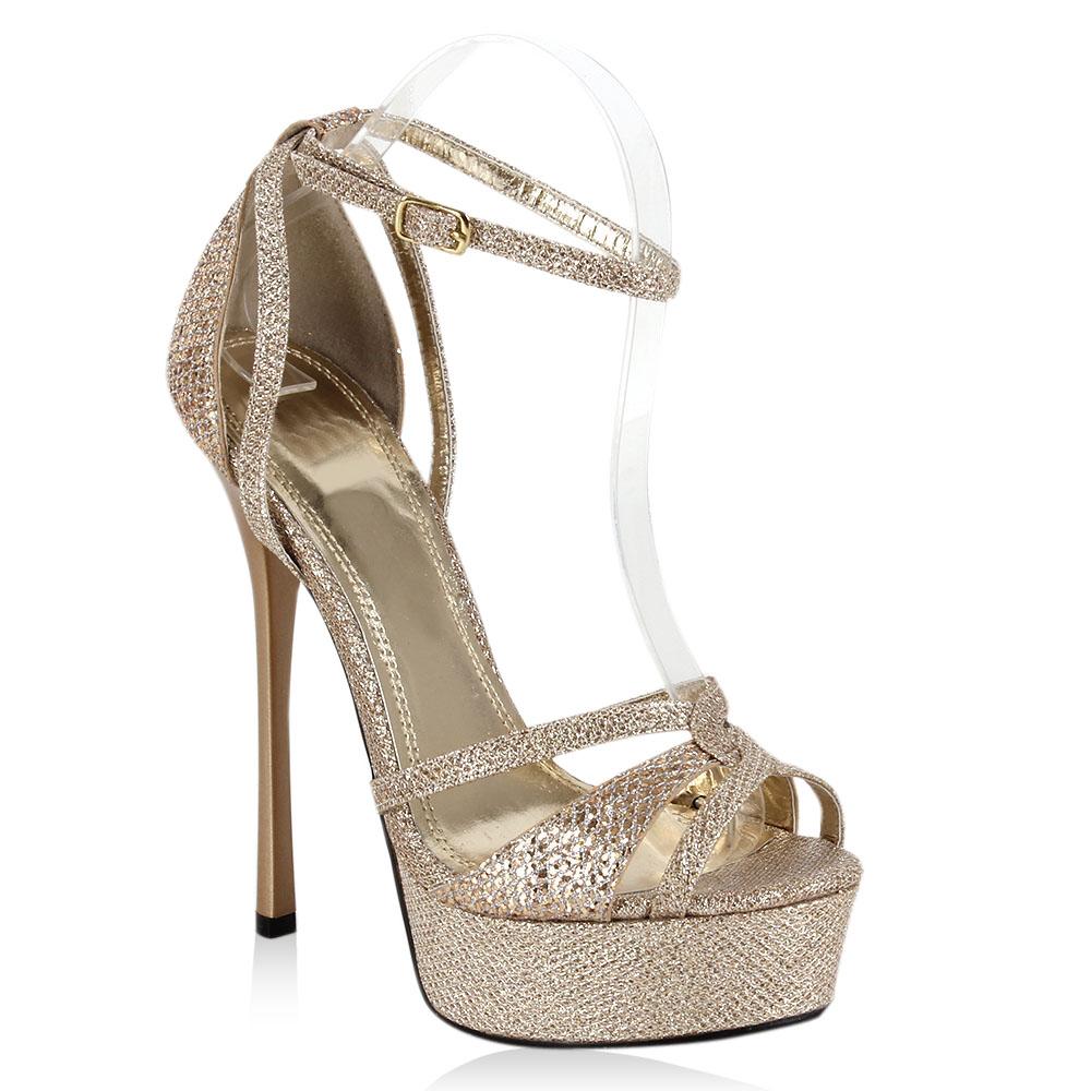 glamour plateau damen sandaletten high heels 96424 glitzer. Black Bedroom Furniture Sets. Home Design Ideas