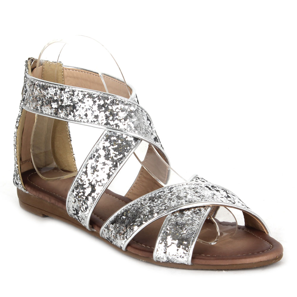 elegante damen sandalen 97082 lederoptik glitzer flach. Black Bedroom Furniture Sets. Home Design Ideas