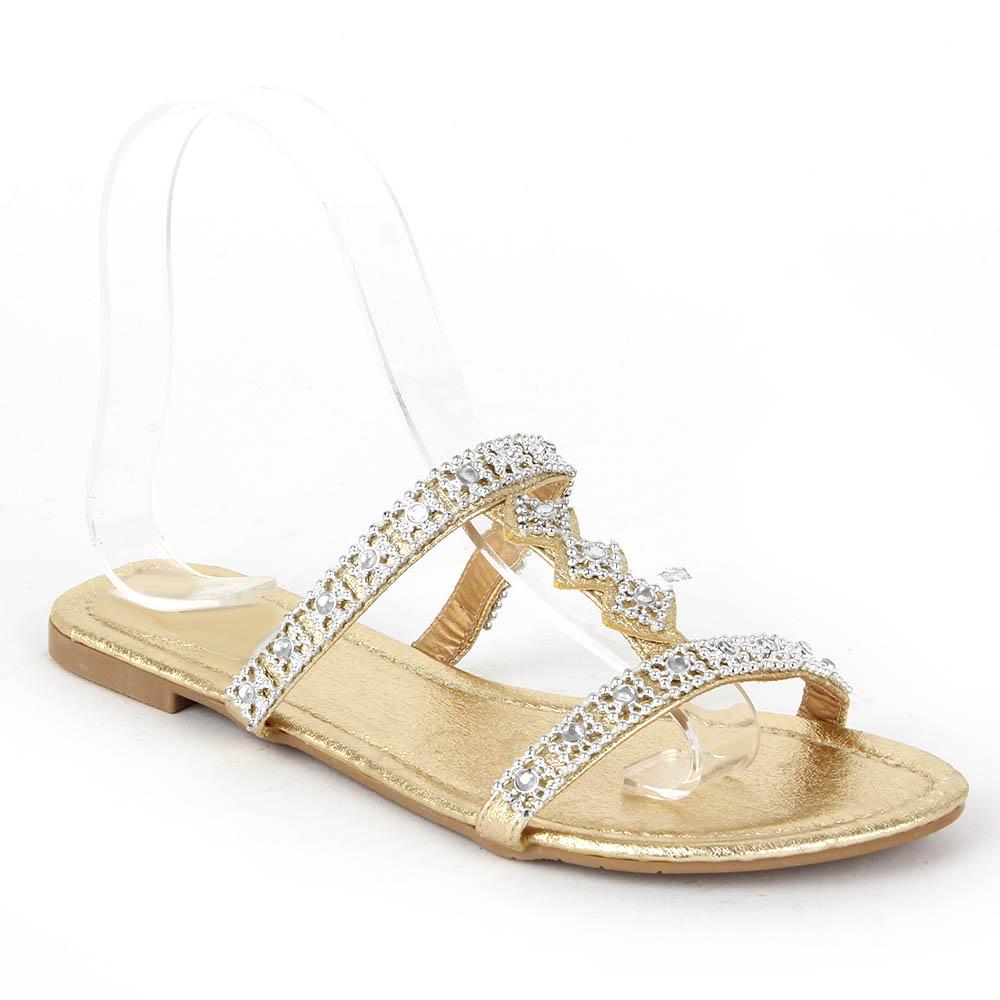 elegante damen sandalen 97321 flach lederoptik strass. Black Bedroom Furniture Sets. Home Design Ideas