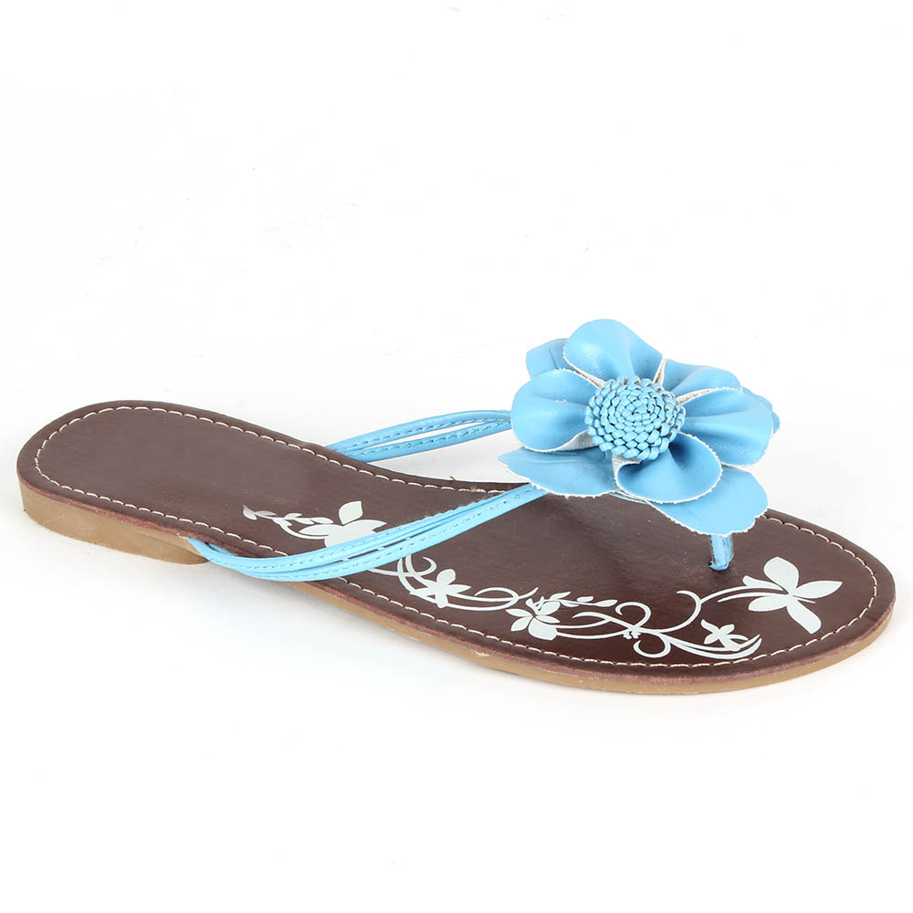 freizeit damen sandalen 97328 lederoptik blumen flach. Black Bedroom Furniture Sets. Home Design Ideas