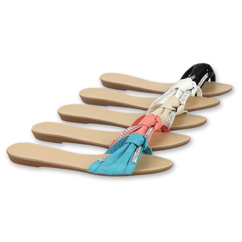 elegante damen sandalen 97365 lederoptik strass flach. Black Bedroom Furniture Sets. Home Design Ideas