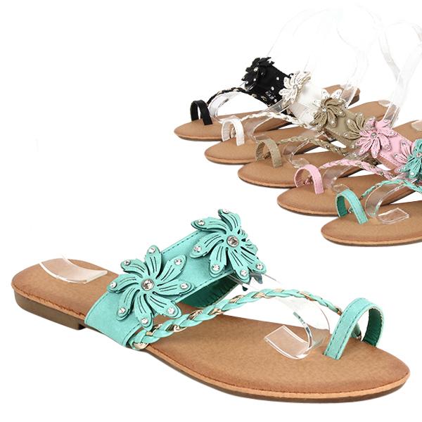 elegante damen sandalen 97499 lederoptik flach blumen schuhe 36 41 trendy ebay. Black Bedroom Furniture Sets. Home Design Ideas