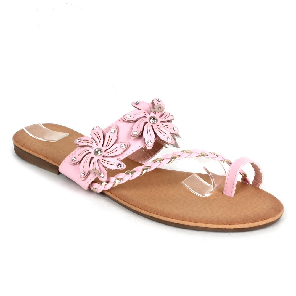 elegante damen sandalen 97499 lederoptik flach blumen. Black Bedroom Furniture Sets. Home Design Ideas