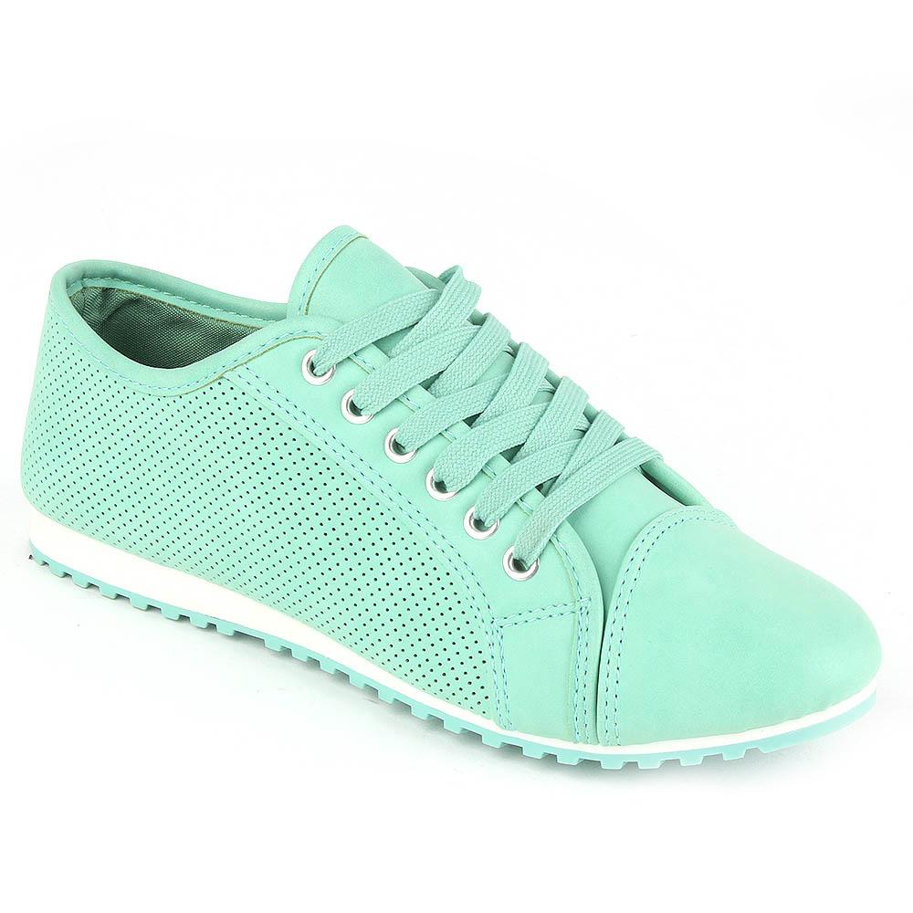 Elegante Damen Sneakers 97552 Lederoptik Flach Lochungen ...