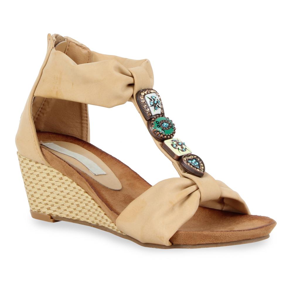 elegante damen sandaletten 97584 lederoptik wedges schuhe. Black Bedroom Furniture Sets. Home Design Ideas