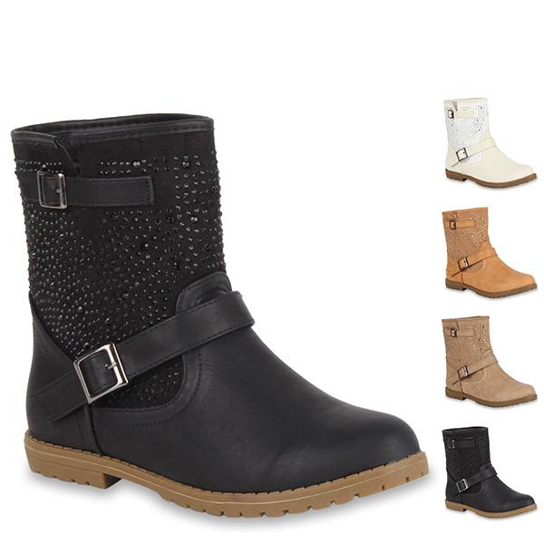 biker boots damen stiefeletten 97964 strass flach schuhe. Black Bedroom Furniture Sets. Home Design Ideas
