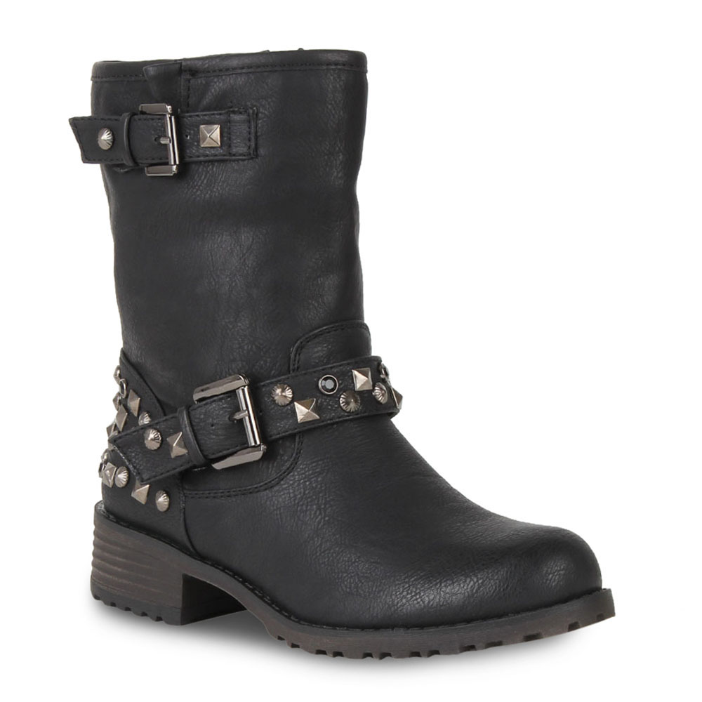 damen biker boots nieten stiefeletten stiefel schuhe. Black Bedroom Furniture Sets. Home Design Ideas