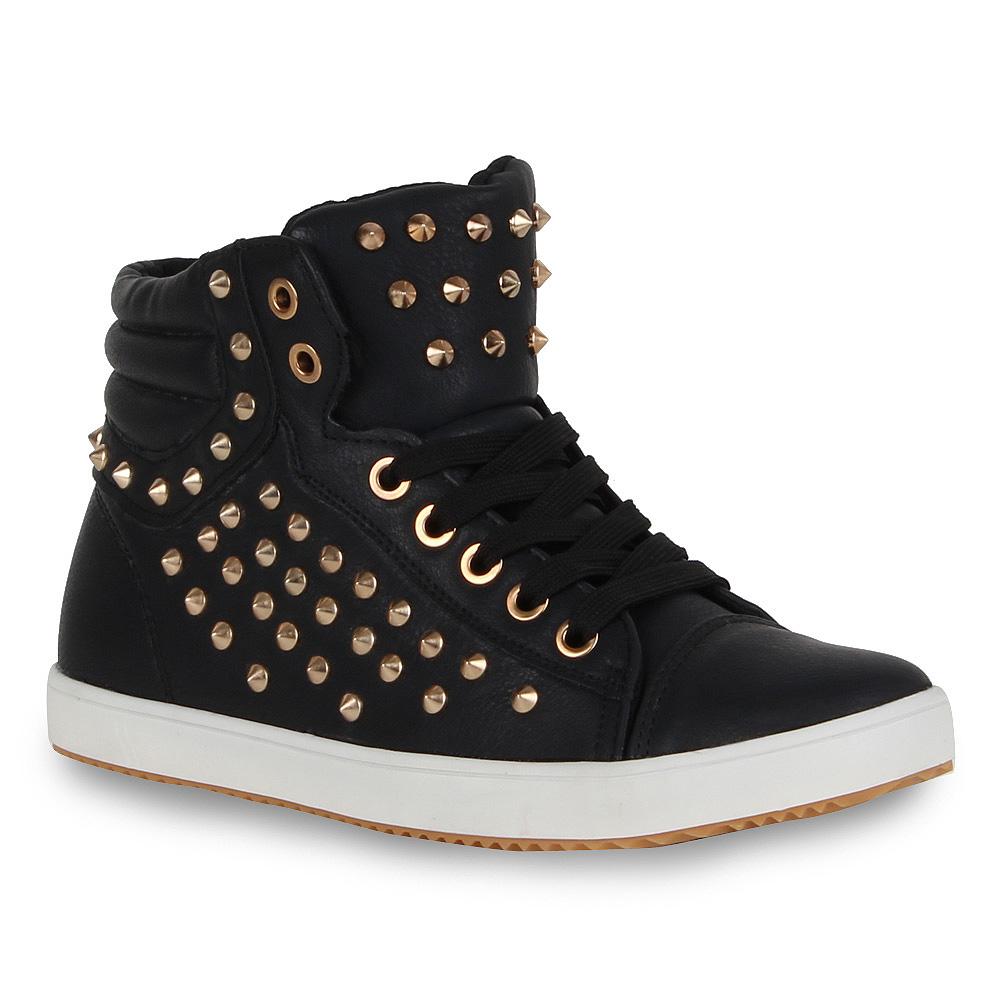 damen sneakers nieten helle sohle sneaker booties schuhe 98066 gr 36 41 stylisch. Black Bedroom Furniture Sets. Home Design Ideas