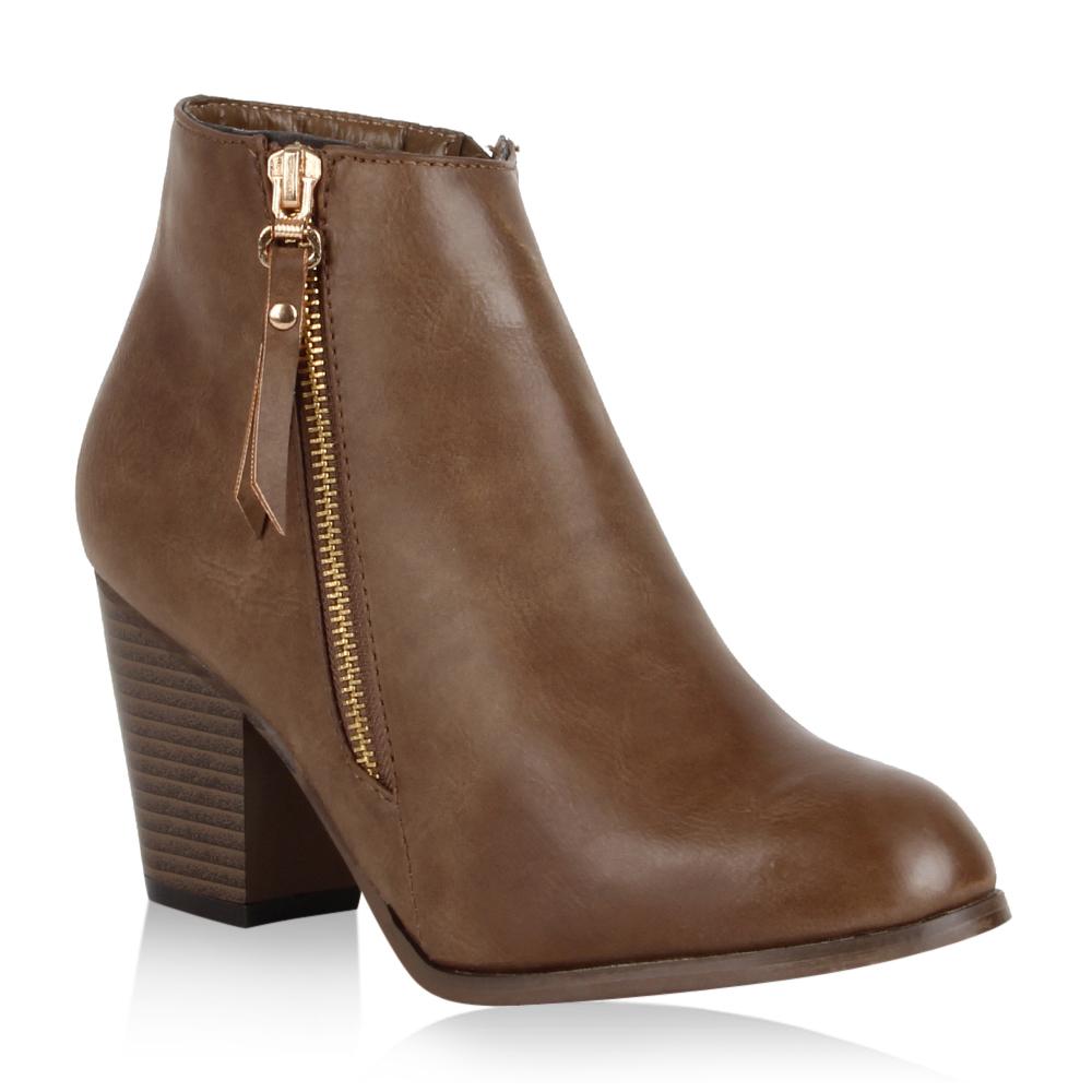 damen ankle boots gold rei verschluss blockabsatz schuhe. Black Bedroom Furniture Sets. Home Design Ideas